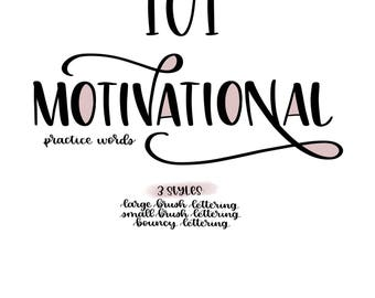 101 Motivational Practice Words In 3 Styles Large Small And Bouncy