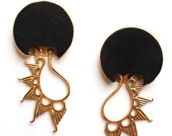 Ebony wood spiky earrings