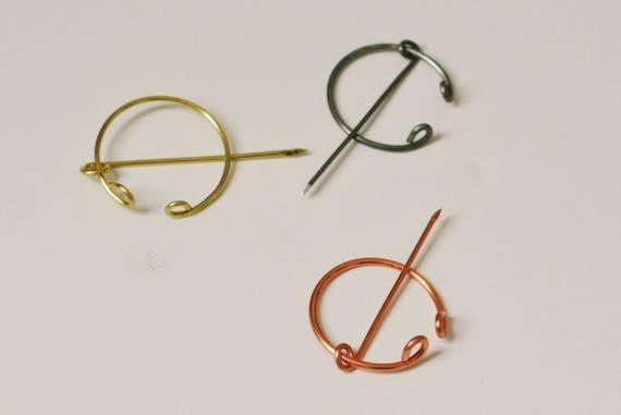 Penannular Brooch Choose Metal Copper Brass Aluminum Cloak