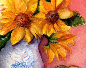 Sunflower watercolor painting art watercolors painting original blue & white vase, sunflower wall art, decor, floral artwork