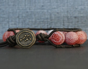 red orange dragon vein agate on black brown leather single wrap bracelet - boho bohemian western gypsy mens or womens