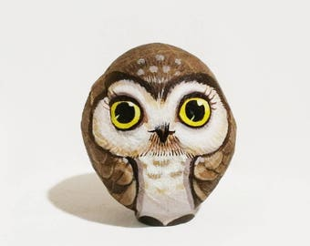 Owls stone painting, Stone Art Paint by Acrylic Colour, original art, Unique.