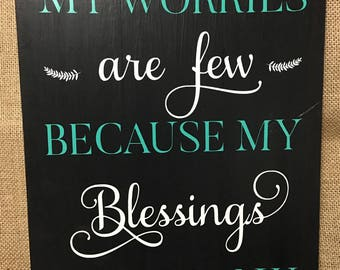 Wooden Wall Hanging Blessings Are Many Decor