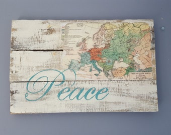 World Peace rustic pallet wood sign