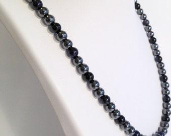 Magnetic hematite necklace - night sky color design - custom sized