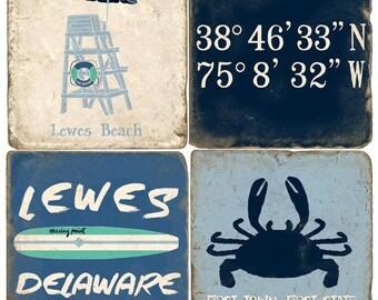 Lewes (2) Italian Marble Coasters (set of 4)