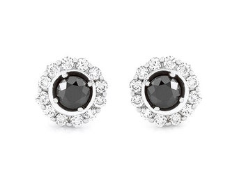 18kt White Gold With Black and White Diamonds Earrings 3Q19