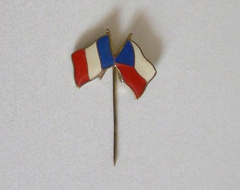 old pine / pretty flags/lapel pin/brooch enameled / blue - white - red enamel/Army-military/antiquityfrench
