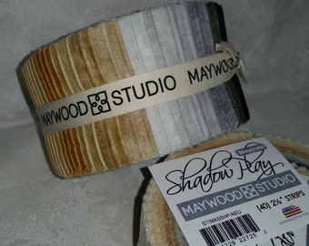"Shadow Play - Jelly Roll - (40) 2.5"" strips - Maywood Studio - Shadow Play - Neutrals"