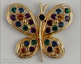 Eisenberg Ice Butterfly Pin,Gold Tone Butterfly Pin,Eisenberg Pin with Multi Color Rhinestones,Eisenberg Gold Tone Butterfly (Inv. #J889)