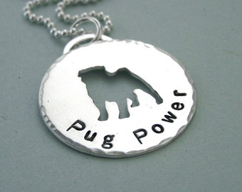 Pug Power - Sterling Silver Necklace for Pug Lovers - Pug Cutout Pendant