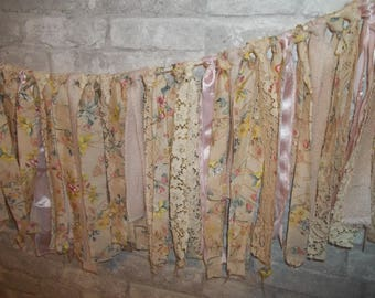 Fabric Garland, Rag Garland,  Shabby Chic Window Decor, Vintage Fabric Garland,  Strip Garland, Fabric Banner,