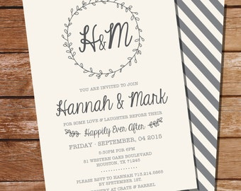 Wreath Rehearsal Dinner Invitation - Couples Shower Invitation - Instant Download and Edit at Home with Adobe Reader - Print at Home