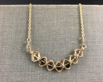 Smoky Quartz Woven Bar Necklace in Gold-Fill
