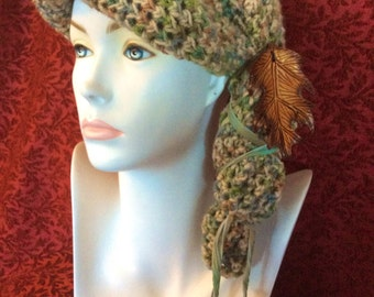 Green Heather Oak Cloche Crocheted Slouch Hat... knit yarn tied soft scarf cap bohemian boho