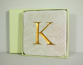 Hand Carved Gold Letter 'K' Stone Wall Tile.  Personalised Gift.  Letter carving.  Wall Hanging. Decorative Arts