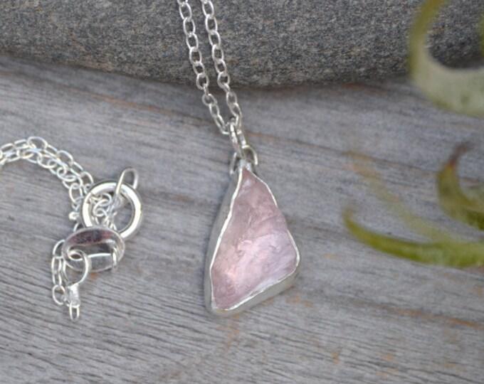 Rose Quartz Necklace, Raw Rose Quartz Necklace, 2.8ct Rose Quartz, Pink Gift For Her