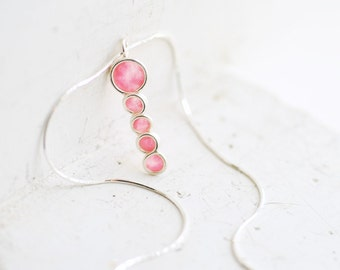 Ready to Ship, Rose Pink Pendant, Blush Jewelry, Minimalist Necklace, Delicate Dainty Pendant, Sterling Silver Modern Mod Jewelry