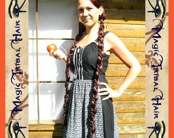 2 x SNOW WHITE BRAID plait wig fairytale hair piece fall 90 cm/ 36'' long C U S T O M colour Tribal Fusion Belly Dance Reenactment Fantasy