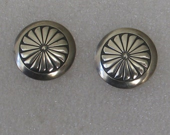 """Vintage Sterling Native American Southwestern Design Round Concho Post Earrings 3/4"""""""