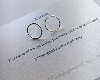 Circle Earrings, Sterling Silver Circle Earrings, Silver Circle Studs, Karma Jewellery, Birthday Gift,Mothers Day Gift