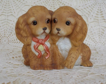 Masterpiece Porcelain, by Homco, Made in 1988, A figurine of 2 Doggies