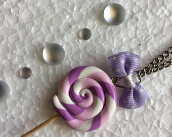 Necklace purple lollipop gourmand