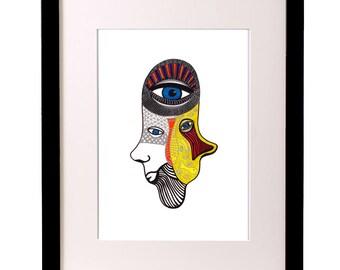 Healing Hand Art, Hand of Fatima, Hand of Miriam, Hamsa Art, Ecclectic Art, Yoga, Spiritual Wall Art, Eye Art, Graphic Art, Hamsa Hand Decor