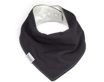 Baby Bandana Bib, dribble bib, baby drool bib, baby scarf bib, toddler scarf bib, toddler drool bib, solid charcoal color