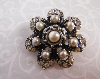 Flower Brooch, Crystal Rhinestones,Faux Pearls,  Layered Brooch, Gifts for Her, Wedding Brooch