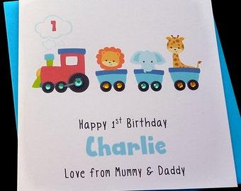 Train Engine Personalised Childrens Birthday Card