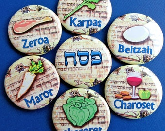 Passover Seder Plate, Passover Magnets, Pessover Gifts, Fridge Magnet Set, Jewish holidays gift ideas, Pesach, Jewish Food, Jewish Kitchen