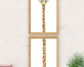 Nursery wall art, giraffe print, minimalist wall art, cute wall decor, animal print, nursery decor, baby shower, kids room decor