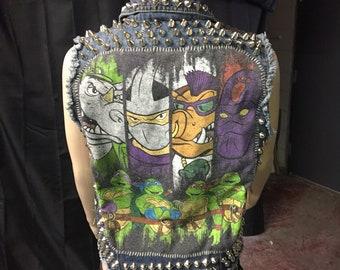 Ninja Turtles Punk Rock Battle Jacket vest women's size L