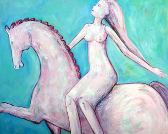 GIRL ON HORSE original oil painting on canvas home decoration turquoise white