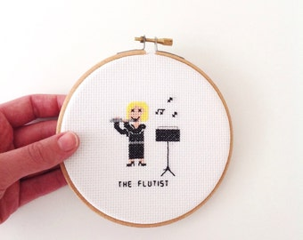 2 x Flutist cross stitch patterns. 2 patterns! DIY gift for flute player. Female musician, male music band player