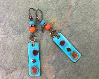 Rustic Boho Copper Earrings, BlueHare Dangle Earrings, Boho Bohemian Niobium Earrings, Festival Jewelry, Summer Jewelry, Eclectic Earrings