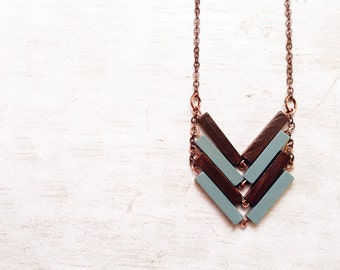 Safari outfit necklace. Wood Geometric Necklace. Minimal and chic Jewelry. Minimalistic necklaces. Chevron geometric necklace for sister.