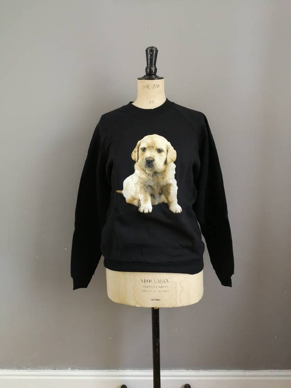 90s vintage dog sweatshirt / retro dog jumper / black vintage dog sweatshirt / kitsch sweater / dog lover