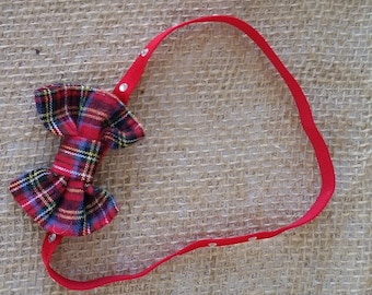 Girl's Red Plaid Bow on Headband with Rhinestones School girl Christmas dress festive holidays