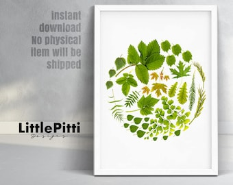 Botanical print, circle wall art, green and white home decor, plants printable leaves, instant download home wall decor, minimalist wall art