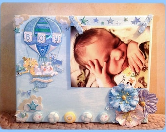 Baby Boy Canvas photo frame, Baby Picture frame, Baby Boy Gift, Mixed media photo canvas