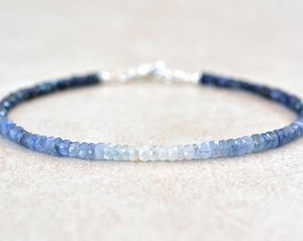 September Birthstone Bracelet, Ombre Sapphire Gemstone Bracelet, Natural Blue Sapphires, Bead Bracelet, Birthstone Bracelet, Gift for Mom