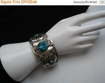 ON SALE Navajo Style Cuff Bracelet Collectible 1960's 1970's Vintage Mexico Turquoise Stone Jewelry
