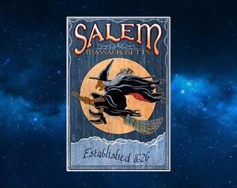 Salem Masachussett Travel Poster Fridge Magnet. Retro Style Sign