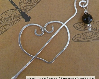 Garnet and Sterling Silver Heart Scarf/Sweater/Shawl Pin