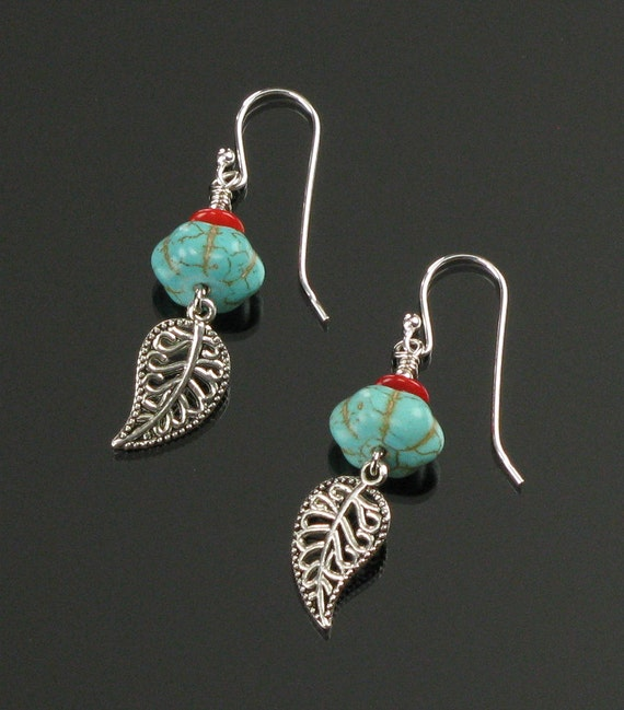 Turquoise & Silver Filigree Leaf Earrings, Unique Boho Dangle Earrings, Boho Turquoise Nature Jewelry, Valentine Gift, Unique Gift for Her