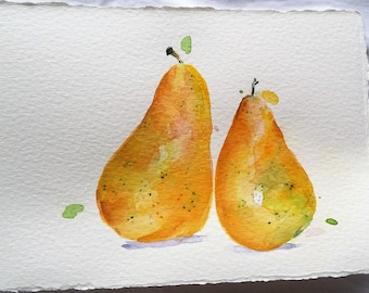 DOUBLE HAPPINESS Gold Pears in Watercolour painting ORIGINAL