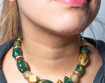 Hand-painted Wooden Bead Choker Lightweight Chunky Forest Green & Gold