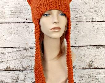 Orange Knit Hat Orange Womens Hat - Orange Ear Flap Cat Hat Orange Knit Hat - Orange Hat Orange Beanie Womens Accessories